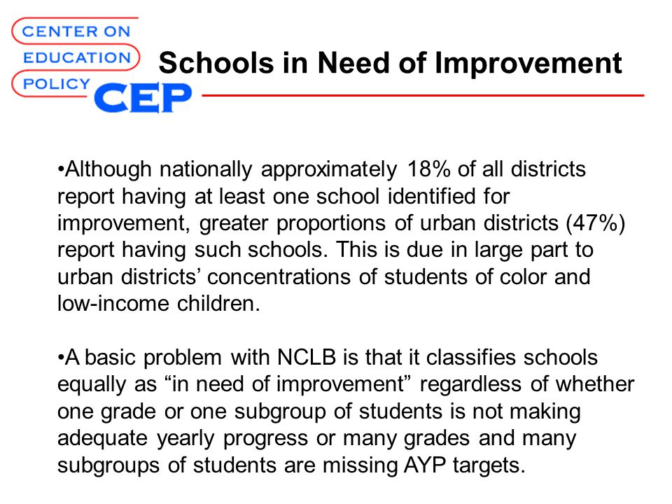 Schools in Need of Improvement Although nationally approximately 18% of all districts report having at least one school identified for improvement, greater proportions of urban districts (47%) report having such schools.
