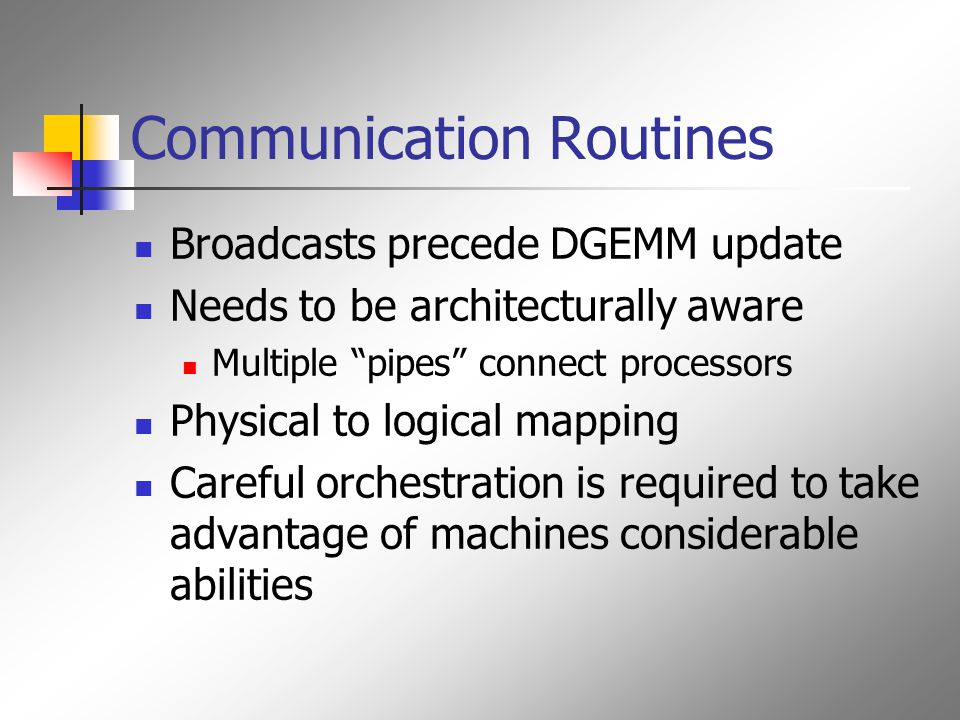 Communication Routines Broadcasts precede DGEMM update Needs to be architecturally aware Multiple pipes connect processors Physical to logical mapping Careful orchestration is required to take advantage of machines considerable abilities