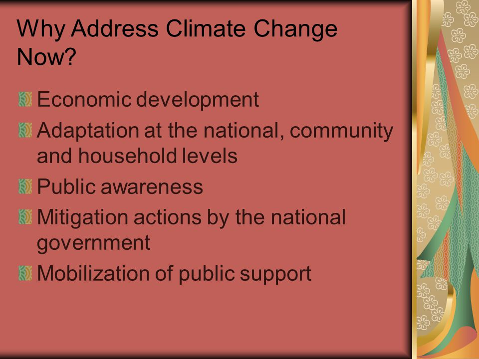 Why Address Climate Change Now.