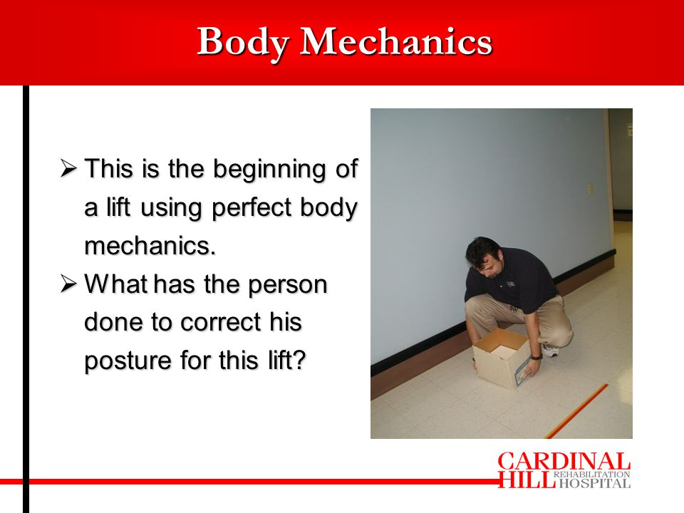  This is the beginning of a lift using perfect body mechanics.