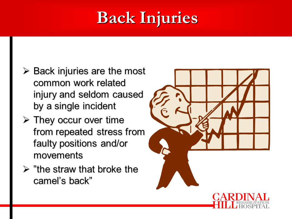  Back injuries are the most common work related injury and seldom caused by a single incident  They occur over time from repeated stress from faulty positions and/or movements  the straw that broke the camel's back Back Injuries