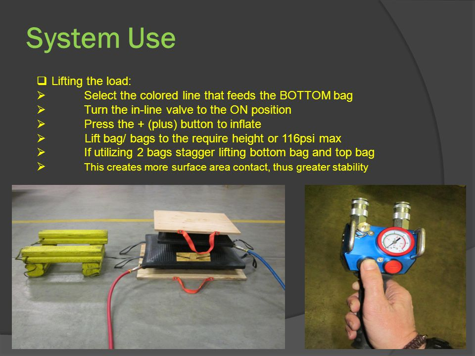 System Use  Lifting the load:  Select the colored line that feeds the BOTTOM bag  Turn the in-line valve to the ON position  Press the + (plus) button to inflate  Lift bag/ bags to the require height or 116psi max  If utilizing 2 bags stagger lifting bottom bag and top bag  This creates more surface area contact, thus greater stability