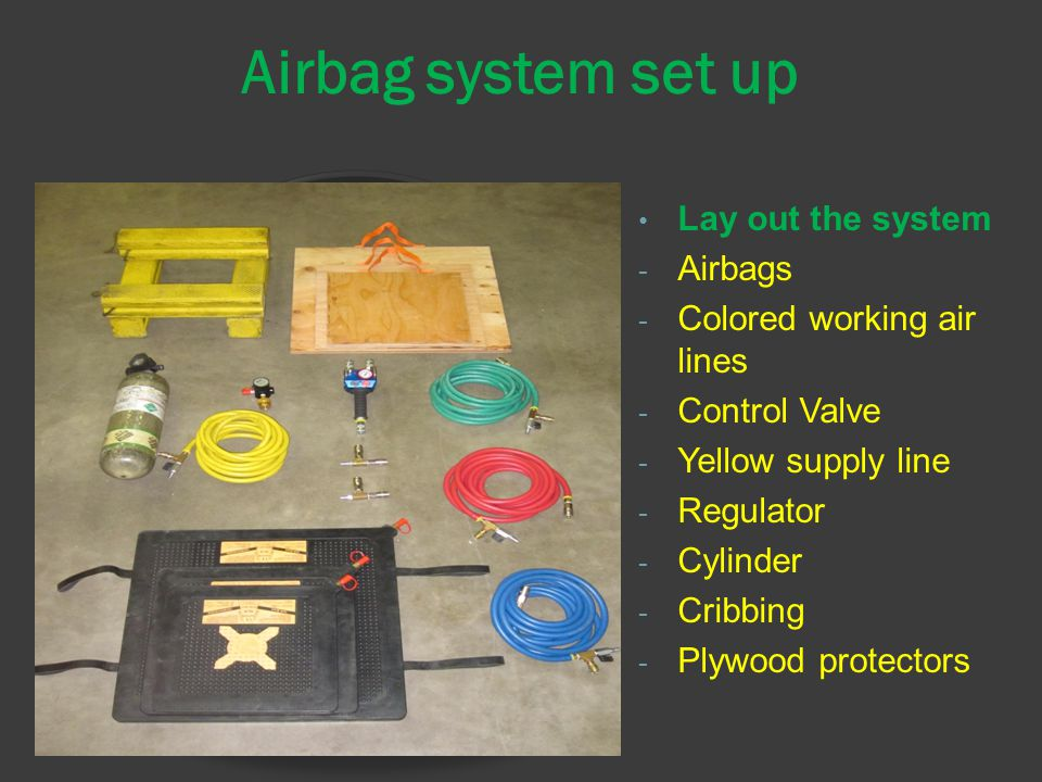 Airbag system set up Lay out the system - Airbags - Colored working air lines - Control Valve - Yellow supply line - Regulator - Cylinder - Cribbing - Plywood protectors