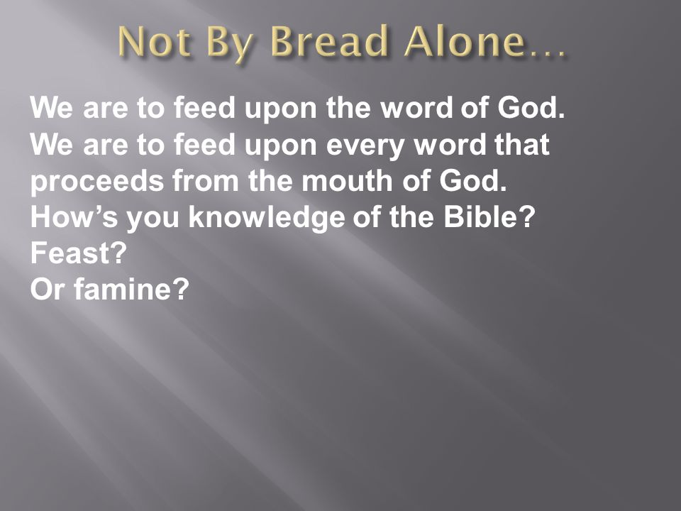 We are to feed upon the word of God.