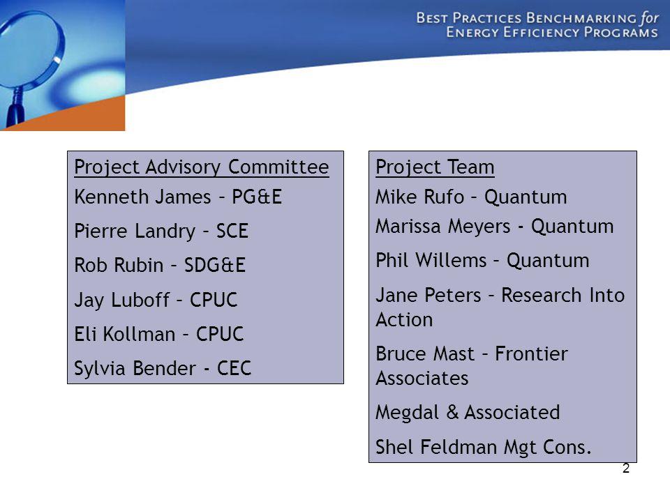 2 Project Advisory Committee Kenneth James – PG&E Pierre Landry – SCE Rob Rubin – SDG&E Jay Luboff – CPUC Eli Kollman – CPUC Sylvia Bender - CEC Proje