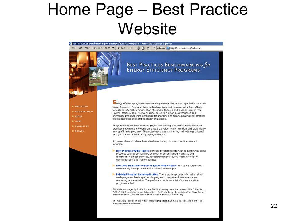 22 Home Page – Best Practice Website