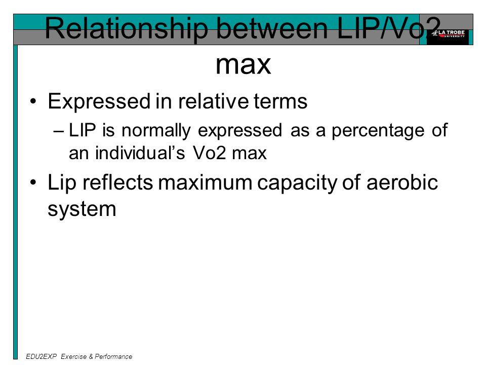 EDU2EXP Exercise & Performance Relationship between LIP/Vo2 max Expressed in relative terms –LIP is normally expressed as a percentage of an individual's Vo2 max Lip reflects maximum capacity of aerobic system