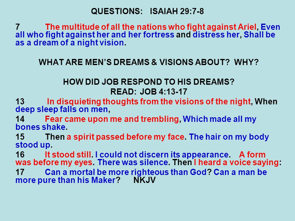 QUESTIONS:ISAIAH 29:7-8 7The multitude of all the nations who fight against Ariel, Even all who fight against her and her fortress and distress her, Shall be as a dream of a night vision.