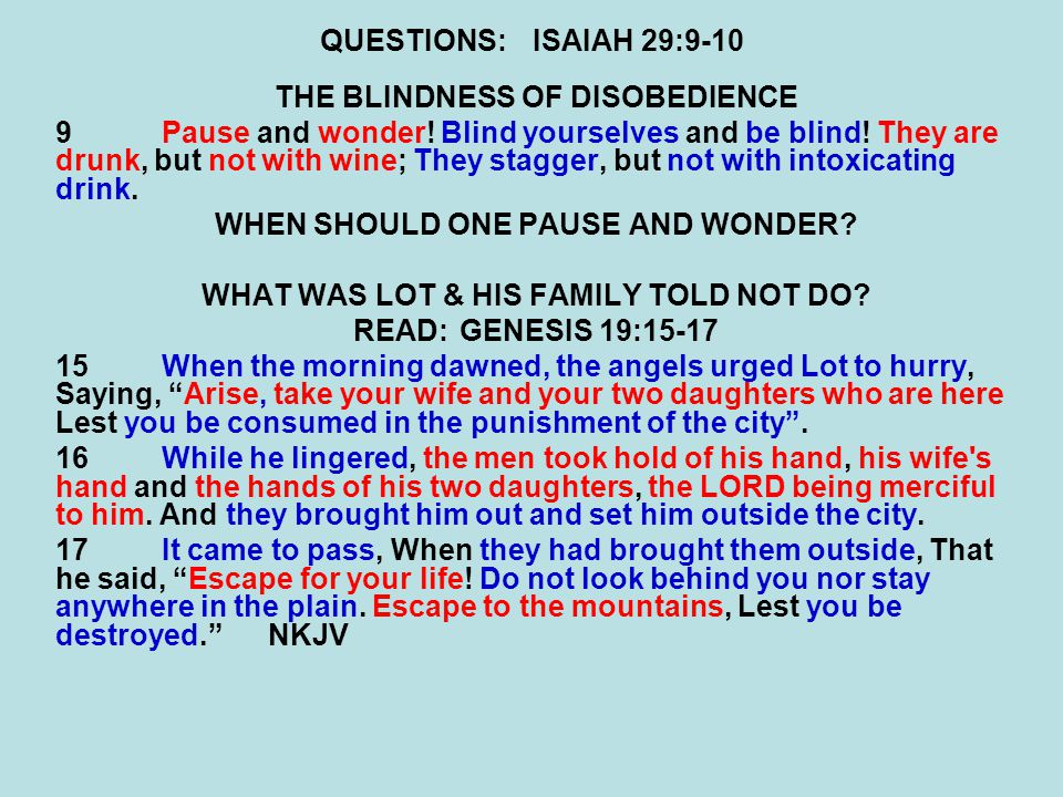 QUESTIONS:ISAIAH 29:9-10 THE BLINDNESS OF DISOBEDIENCE 9Pause and wonder.