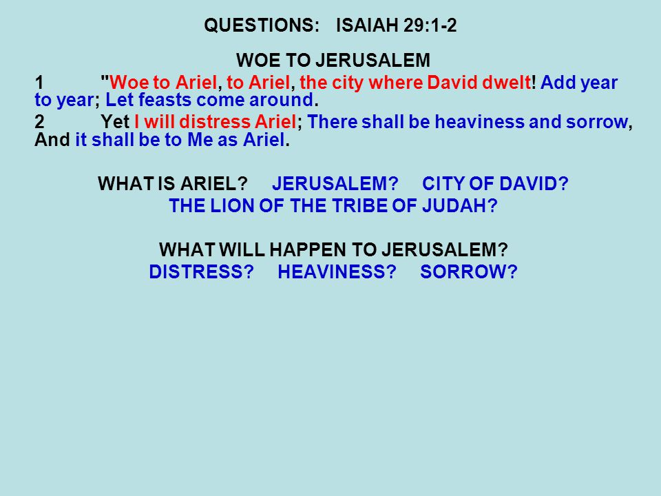 QUESTIONS:ISAIAH 29:9-10 10For the LORD has poured out on you The spirit of deep sleep, And has closed your eyes, namely, the prophets; And He has covered your heads, namely, the seers.