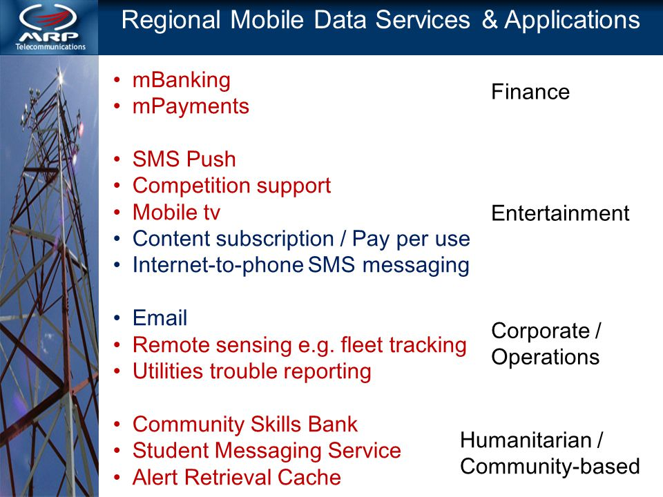 Regional Mobile Data Services & Applications mBanking mPayments SMS Push Competition support Mobile tv Content subscription / Pay per use Internet-to-phone SMS messaging Email Remote sensing e.g.