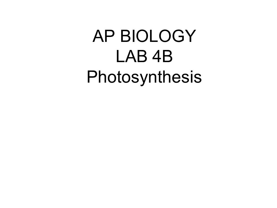 AP BIOLOGY LAB 4B Photosynthesis