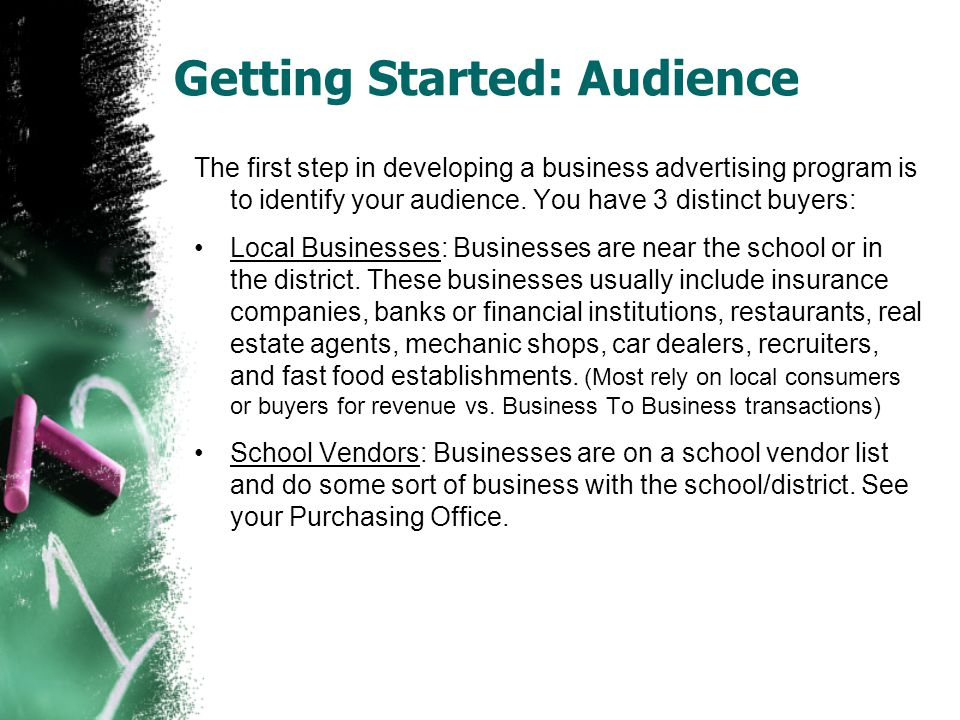 Getting Started: Develop Offer The next step in developing a business advertising program is to identify your cost & develop your offerings/rates: You will need to identify what your cost is to print on a single page.