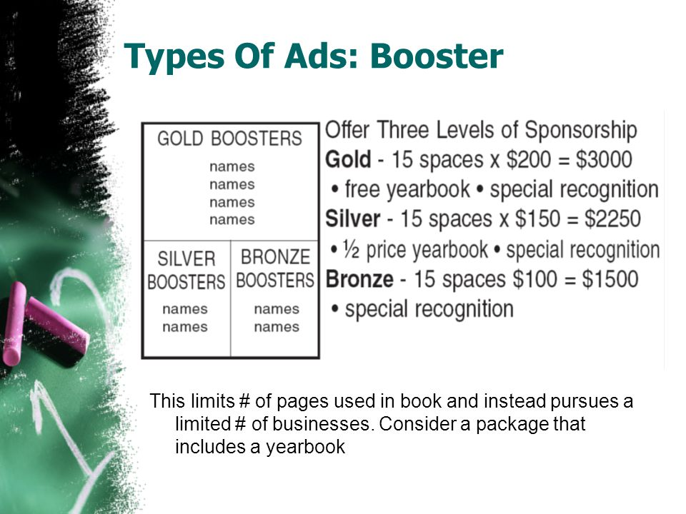 Types Of Ads: Strip Ad This allows for lower prices ads and can include more businesses.