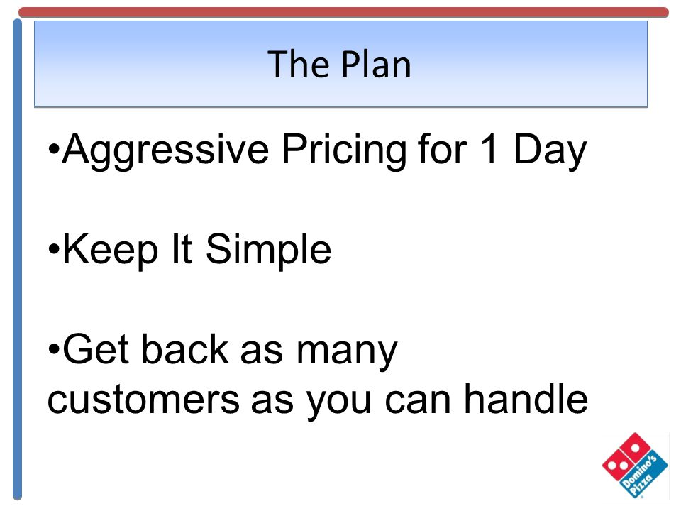 The Plan Aggressive Pricing for 1 Day Keep It Simple Get back as many customers as you can handle