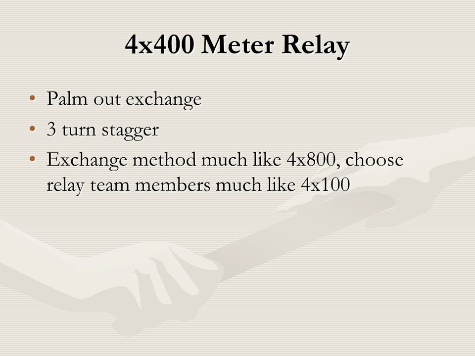4x400 Meter Relay Palm out exchangePalm out exchange 3 turn stagger3 turn stagger Exchange method much like 4x800, choose relay team members much like 4x100Exchange method much like 4x800, choose relay team members much like 4x100