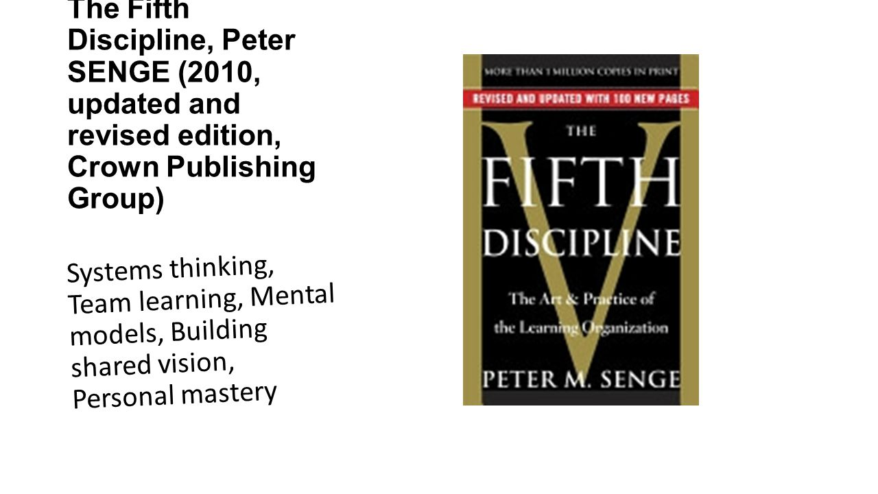 The Fifth Discipline, Peter SENGE (2010, updated and revised edition, Crown Publishing Group) Systems thinking, Team learning, Mental models, Building shared vision, Personal mastery