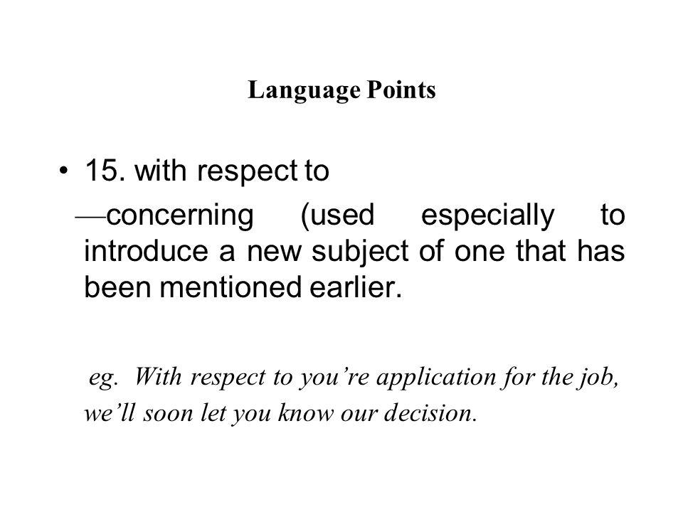Language Points 15.