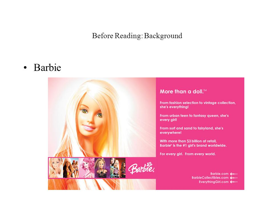 Before Reading: Background Barbie