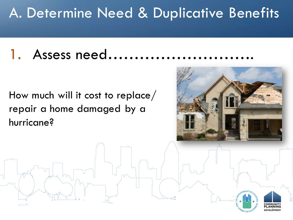 A. Determine Need & Duplicative Benefits 1.Assess need……………………….