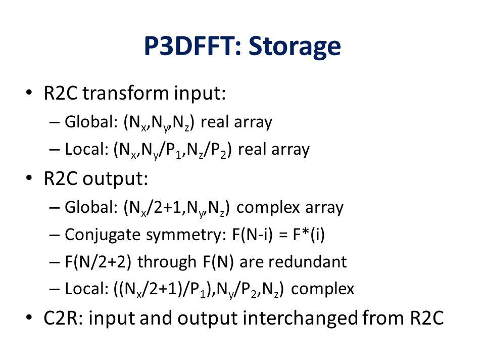 P3DFFT: Storage R2C transform input: – Global: (N x,N y,N z ) real array – Local: (N x,N y /P 1,N z /P 2 ) real array R2C output: – Global: (N x /2+1,