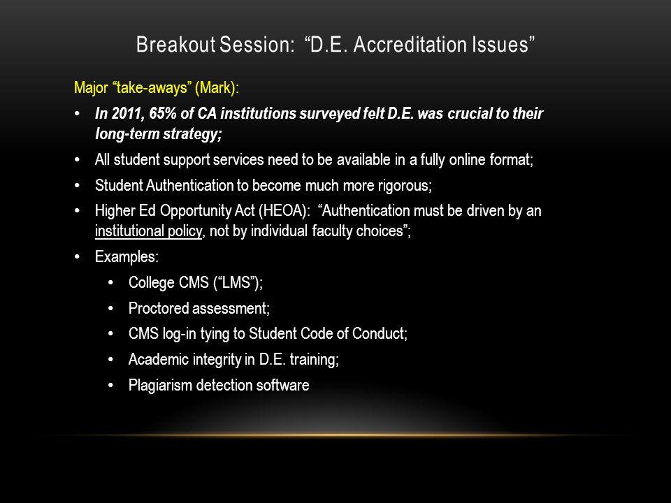 Breakout Session: D.E.