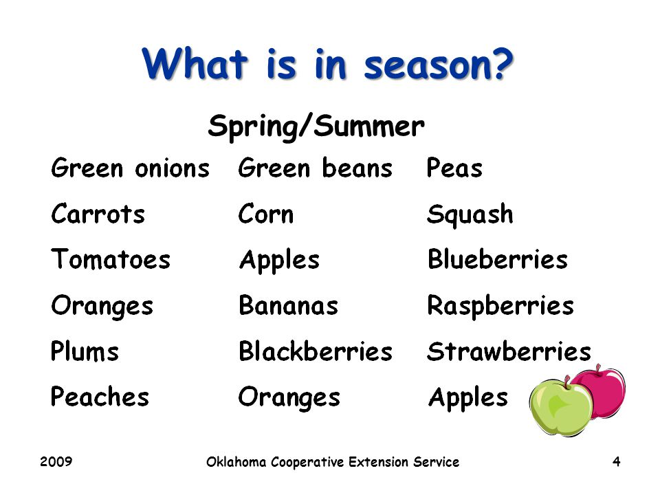 2009Oklahoma Cooperative Extension Service4 What is in season Spring/Summer