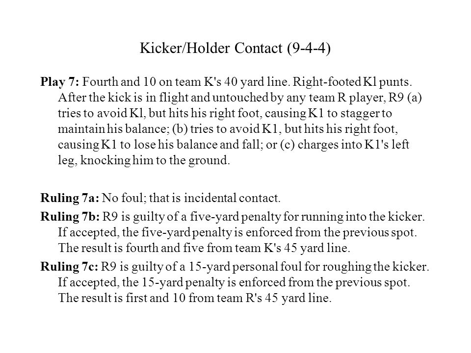 Kicker/Holder Contact (9-4-4) Play 7: Fourth and 10 on team K s 40 yard line.