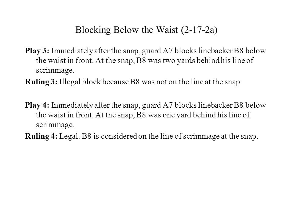Blocking Below the Waist (2-17-2a) Play 3: Immediately after the snap, guard A7 blocks linebacker B8 below the waist in front.