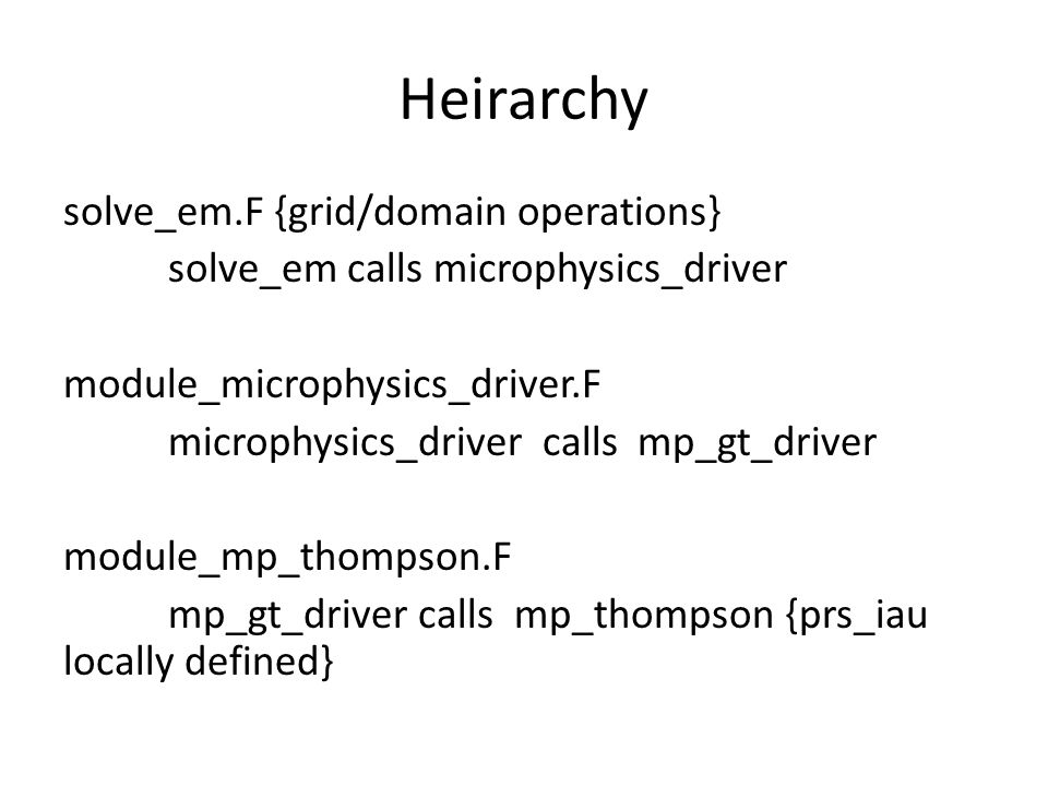 Heirarchy solve_em.F {grid/domain operations} solve_em calls microphysics_driver module_microphysics_driver.F microphysics_driver calls mp_gt_driver module_mp_thompson.F mp_gt_driver calls mp_thompson {prs_iau locally defined}