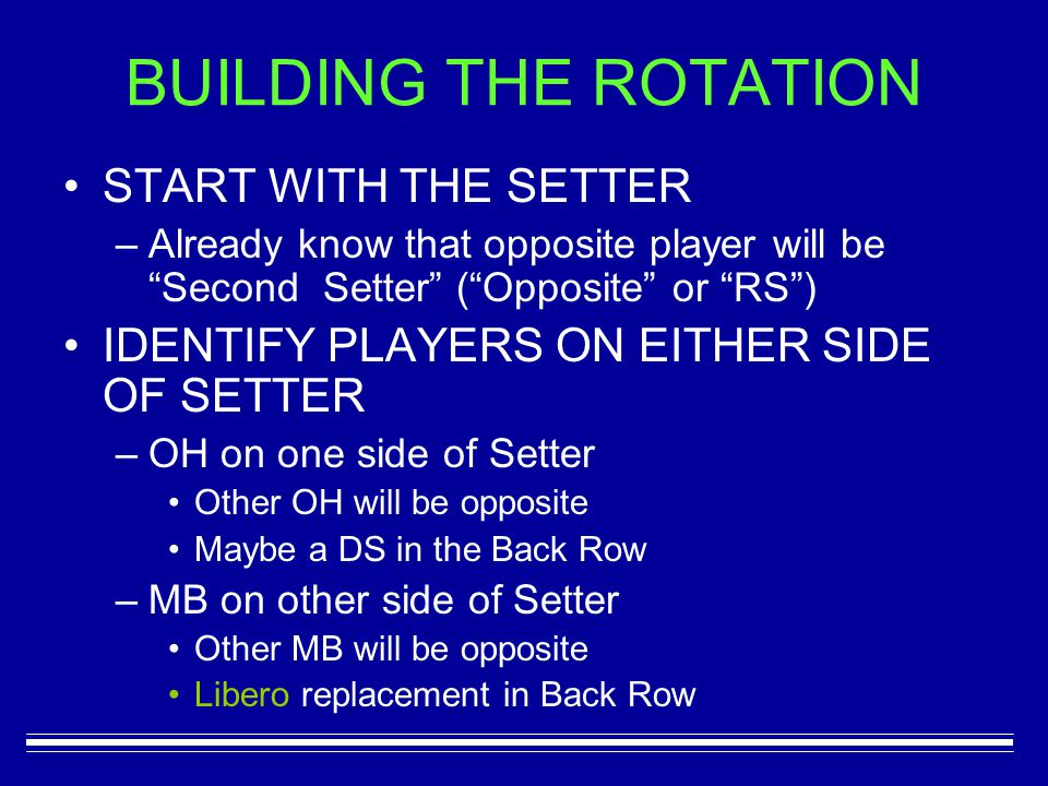 BUILDING THE ROTATION START WITH THE SETTER –Already know that opposite player will be Second Setter ( Opposite or RS ) IDENTIFY PLAYERS ON EITHER SIDE OF SETTER –OH on one side of Setter Other OH will be opposite Maybe a DS in the Back Row –MB on other side of Setter Other MB will be opposite Libero replacement in Back Row