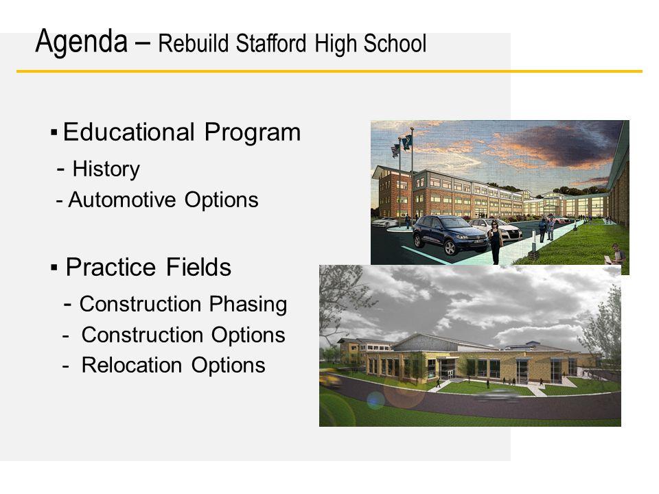 Date ▪ Educational Program - History - Automotive Options ▪ Practice Fields - Construction Phasing - Construction Options - Relocation Options Agenda
