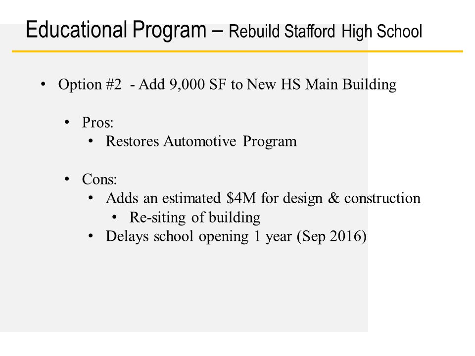 Date Educational Program – Rebuild Stafford High School Option #2 - Add 9,000 SF to New HS Main Building Pros: Restores Automotive Program Cons: Adds