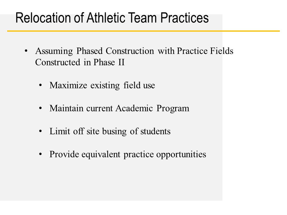 Date Relocation of Athletic Team Practices Assuming Phased Construction with Practice Fields Constructed in Phase II Maximize existing field use Maint