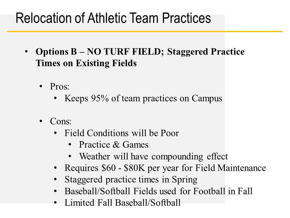 Date Relocation of Athletic Team Practices Options B – NO TURF FIELD; Staggered Practice Times on Existing Fields Pros: Keeps 95% of team practices on