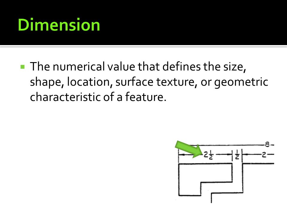  The numerical value that defines the size, shape, location, surface texture, or geometric characteristic of a feature.