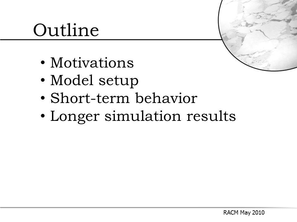 Outline RACM May 2010 Motivations Model setup Short-term behavior Longer simulation results