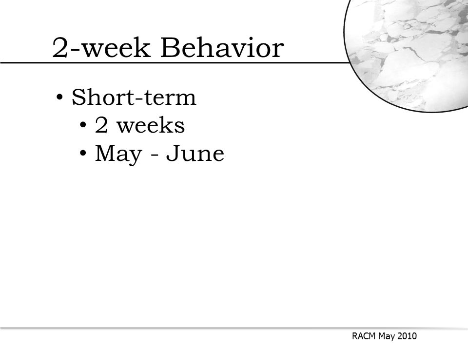 2-week Behavior RACM May 2010 Short-term 2 weeks May - June