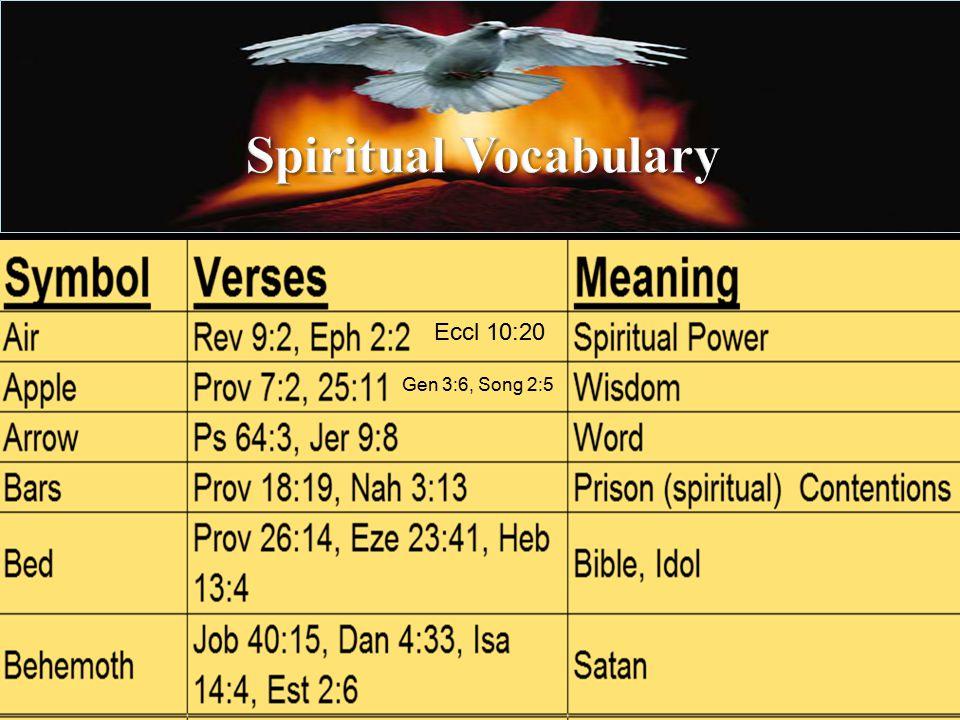 Gen 3:6, Song 2:5 Eccl 10:20