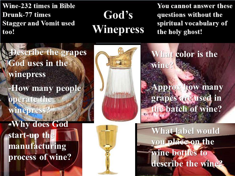 God's Winepress Describe the grapes God uses in the winepress - Describe the grapes God uses in the winepress -How many people operate the winepress.