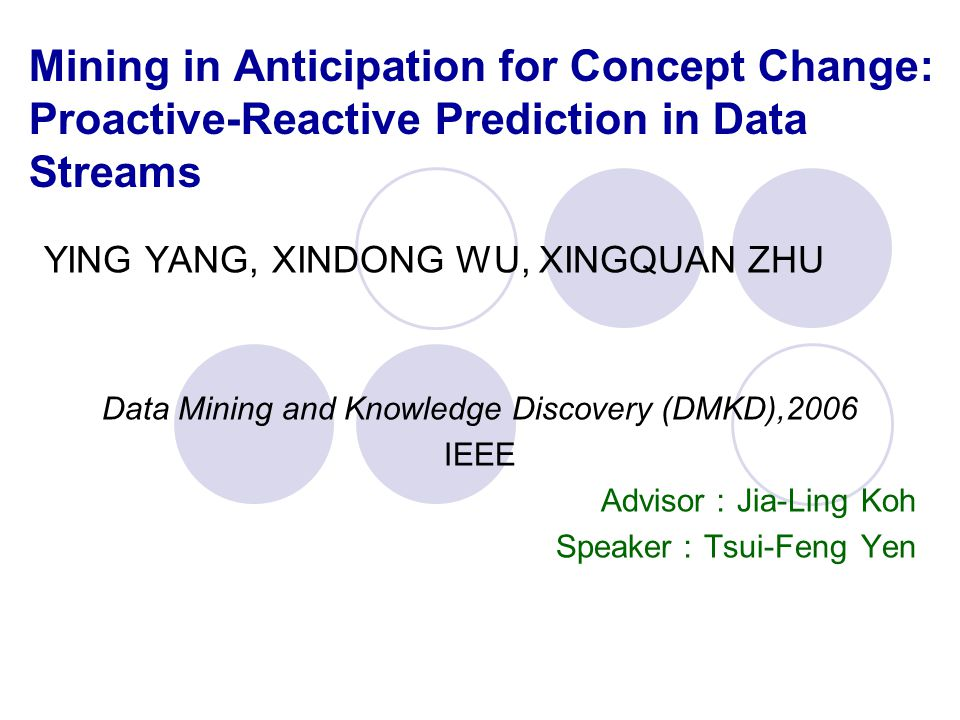 Mining in Anticipation for Concept Change: Proactive-Reactive Prediction in Data Streams YING YANG, XINDONG WU, XINGQUAN ZHU Data Mining and Knowledge Discovery (DMKD),2006 IEEE Advisor : Jia-Ling Koh Speaker : Tsui-Feng Yen
