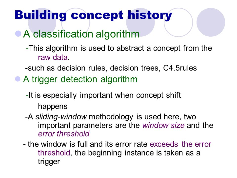 Building concept history A classification algorithm -This algorithm is used to abstract a concept from the raw data.