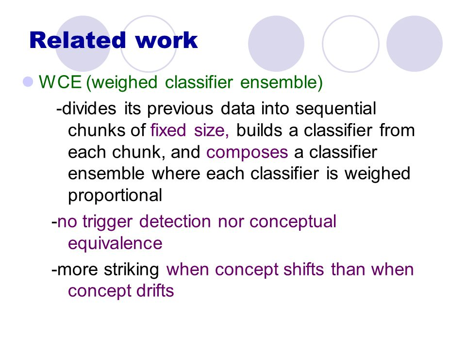 Related work WCE (weighed classifier ensemble) -divides its previous data into sequential chunks of fixed size, builds a classifier from each chunk, and composes a classifier ensemble where each classifier is weighed proportional -no trigger detection nor conceptual equivalence -more striking when concept shifts than when concept drifts