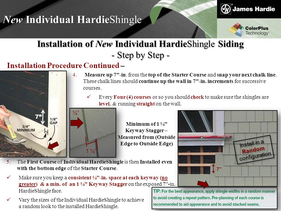 Text goes here Agenda New Individual HardieShingle Installation of New Individual HardieShingle Siding - Step by Step - 5.The First Course of Individual HardieShingle is then Installed even with the bottom edge of the Starter Course.