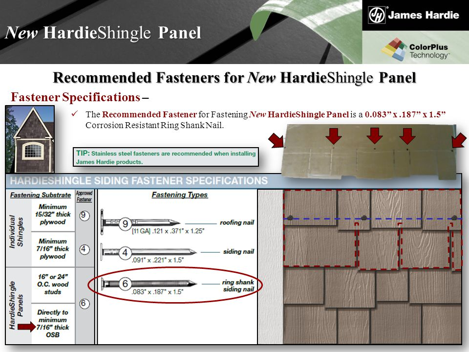 Text goes here Agenda New HardieShingle Panel Recommended Fasteners for New HardieShingle Panel Fastener Specifications – The Recommended Fastener for Fastening New HardieShingle Panel is a 0.083 x.187 x 1.5 Corrosion Resistant Ring Shank Nail.