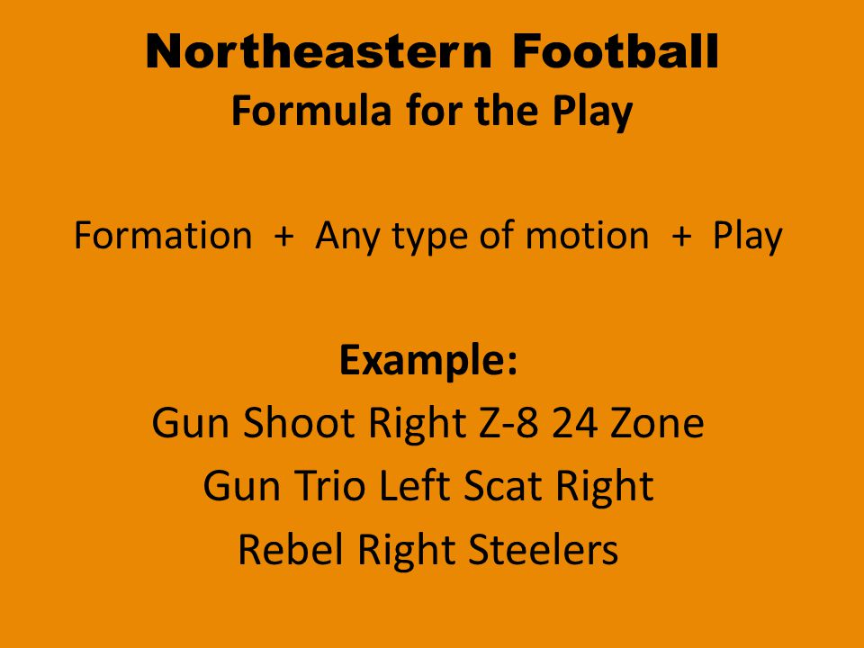 Northeastern Football Understanding the Running Play 24 Zone19 Stretch 2 = The Player1 = The Player 4 = The Hole9 = The Hole Zone = Inside PlayStretch = Outside Play