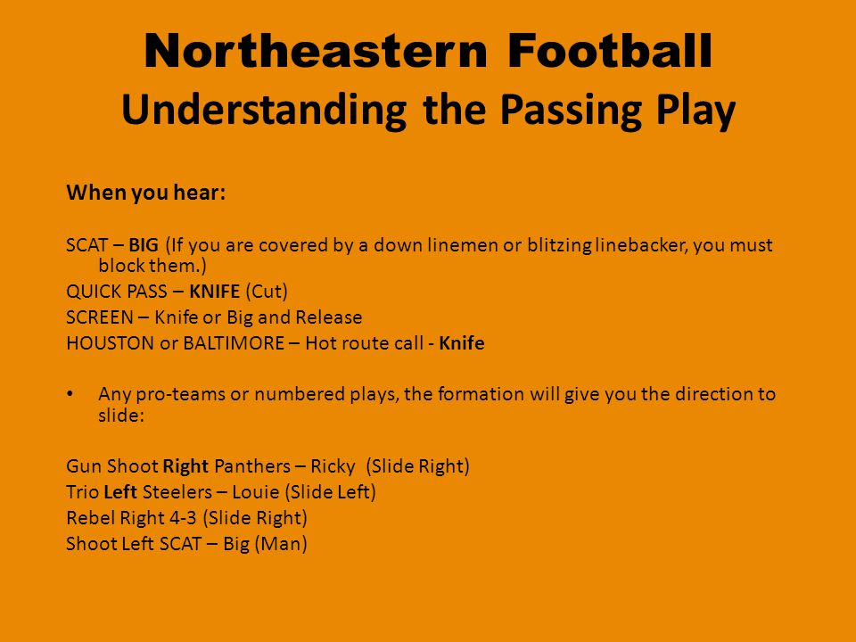 Northeastern Football HOLE NUMBERING 9 T 7 5 G 3 1 C 0 2 G 4 6 T 8 ODDEVEN Stagger Left Stagger Right