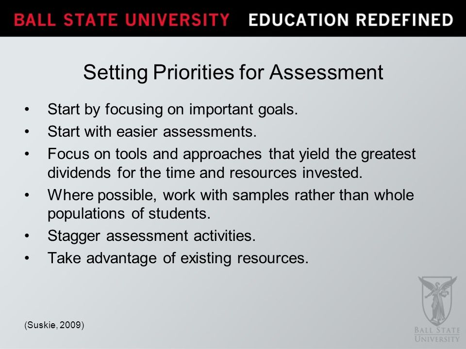 Setting Priorities for Assessment Start by focusing on important goals.