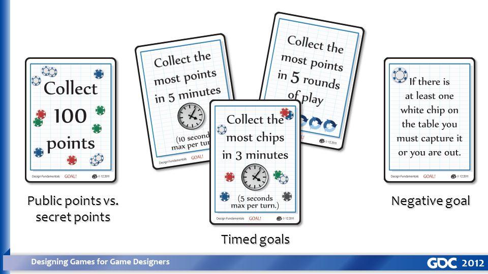 Public points vs. secret points Timed goals Negative goal
