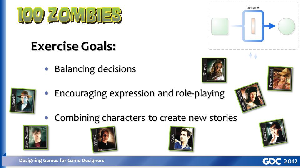 Balancing decisionsBalancing decisions Encouraging expression and role-playingEncouraging expression and role-playing Combining characters to create new storiesCombining characters to create new stories Exercise Goals: